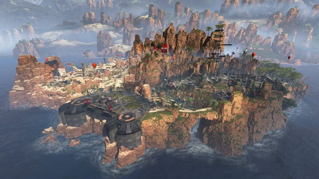 Bird's eye view of the Apex Legends game world
